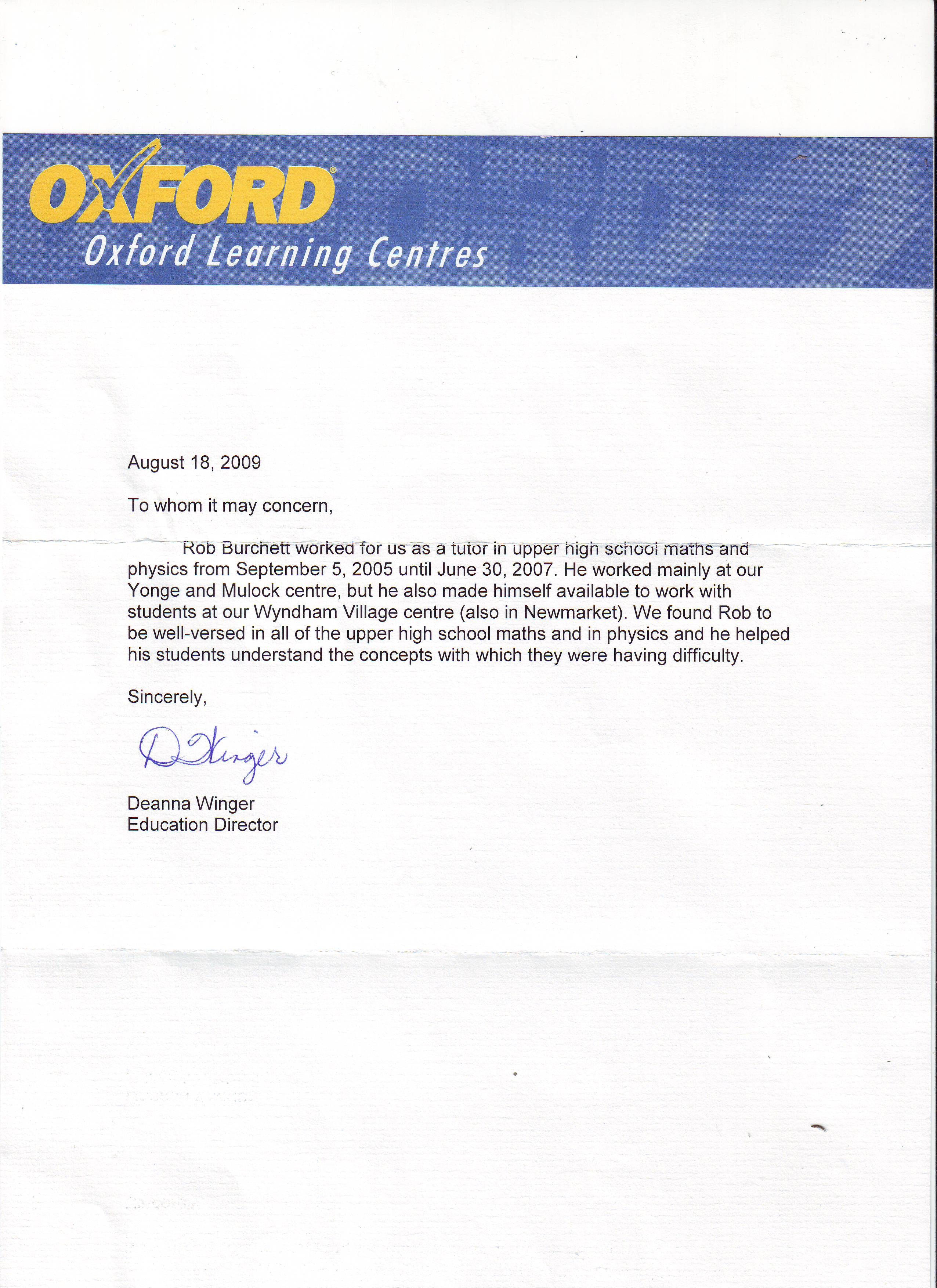 Letter of recomendation from Oxford